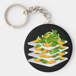Glitch Food spinach salad Basic Round Button Keychain