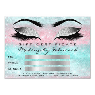 Glitte Lashes Grey Makeup Artist Certificate Gift Card