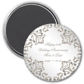 Glitter 60th Diamond Wedding Anniversary Magnet