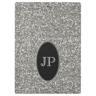 Glitter and Black Monogram Clipboard