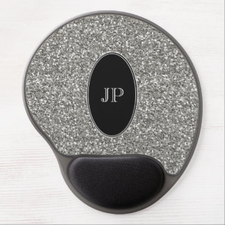 Glitter and Black Monogram Gel Mouse Pad