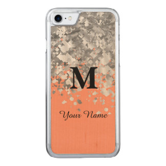 Glitter and peach monogram carved iPhone 7 case