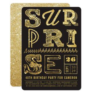 Glitter Art Deco Surprise Party Birthday Invite