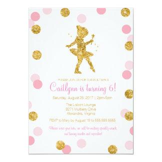 "Glitter Ballerina, Pink and Gold Sparkle Birthday 5"" X 7"" Invitation Card"