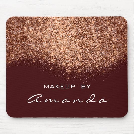Glitter Beauty Studio Makeup Copper Burgundy White Mouse Pad