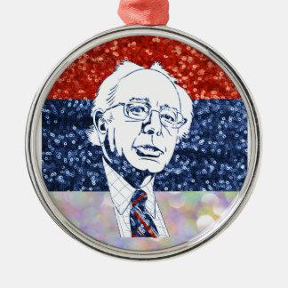 glitter bernie sanders Silver-Colored round ornament