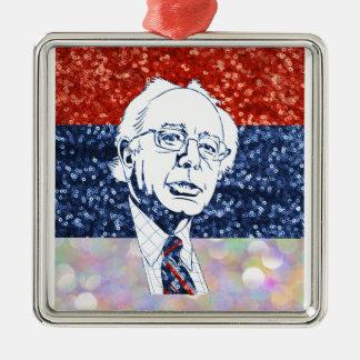glitter bernie sanders Silver-Colored square ornament