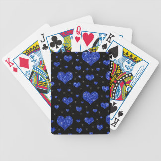 Glitter black blue hearts pattern bicycle playing cards