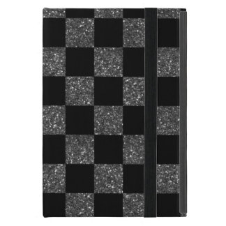 Glitter black glitter checkered pattern case for iPad mini