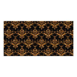 Glitter black gold damask pattern photo greeting card