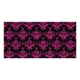 Glitter black hot pink damask pattern customized photo card