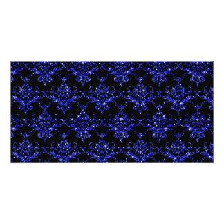 Glitter black indigo blue damask pattern photo card template