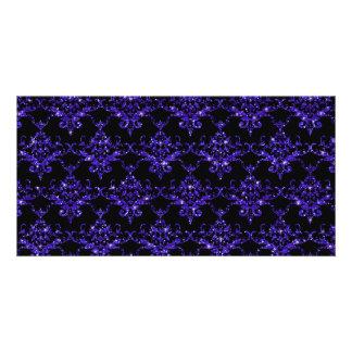 Glitter black indigo purple damask pattern photo card