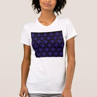 Glitter black indigo purple damask pattern t shirt