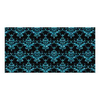 Glitter black light blue damask pattern photo cards