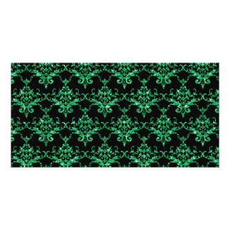 Glitter black light green damask pattern photo card template