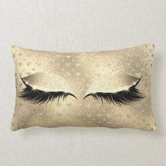 Glitter Black Makeup Eye Lashes Champaign Gold Lumbar Pillow
