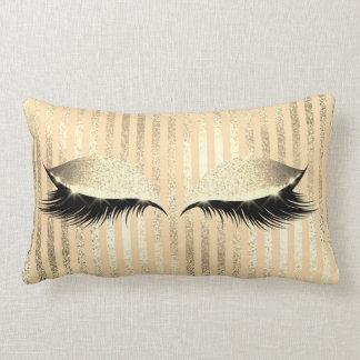 Glitter Black Makeup Eye Lashes Champaign Stripes Lumbar Pillow