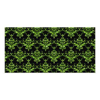 Glitter black neon green damask pattern custom photo card