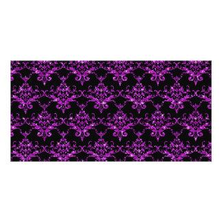 Glitter black purple damask pattern photo card template