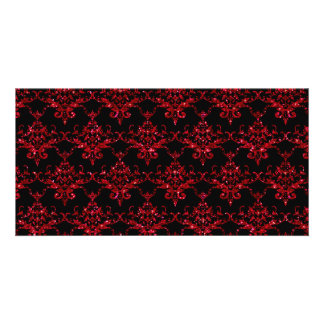 Glitter black red damask pattern photo greeting card