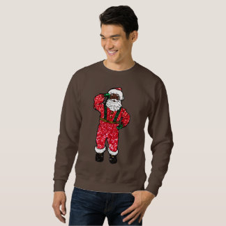 glitter black santa claus xmas mens sweatshirt