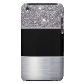 Glitter Black Silver Pattern Print Design iPod Touch Cases