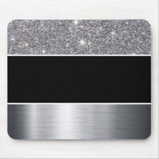 Glitter Black Silver Pattern Print Design Mouse Pad