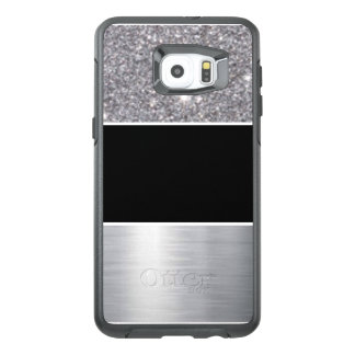Glitter Black Silver Pattern Print Design OtterBox Samsung Galaxy S6 Edge Plus Case