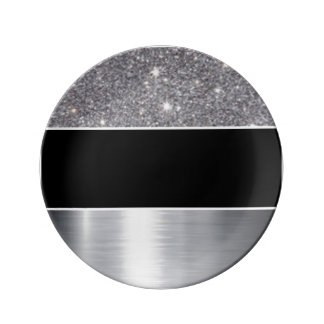 Glitter Black Silver Pattern Print Design Plate