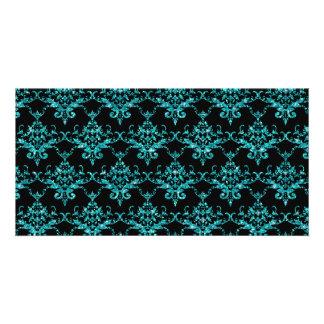 Glitter black turquoise damask pattern photo greeting card