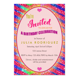 Glitter Bling Birthday Invitation