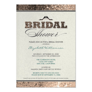 Glitter Bling Bridal Shower Invitation (champagne)