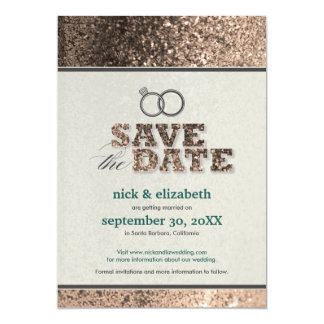 Glitter Bling Save the Date Announcement (copper)