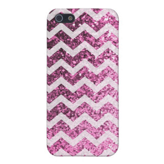 Glitter Bling Sparkly Chevron Pattern (pink) iPhone 5/5S Covers