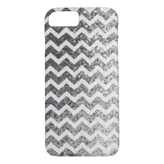 Glitter Bling Sparkly Chevron Pattern (silver) iPhone 7 Case