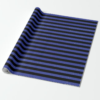 Glitter Blue and Black Stripes Wrapping Paper