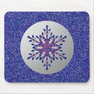 Glitter Blue Star Mouse Pad