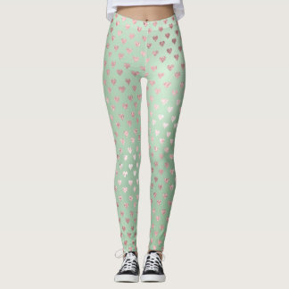 Glitter Blush Hearts Pink Rose Gold Mint Green Leggings