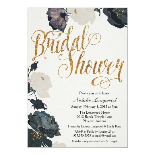 Glitter Bridal Shower Invitation, Elegant Floral Card