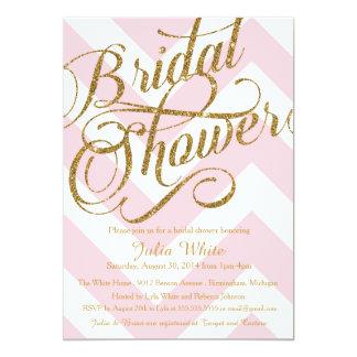 "Glitter Bridal Shower Invitation, Pink Chevron 5"" X 7"" Invitation Card"