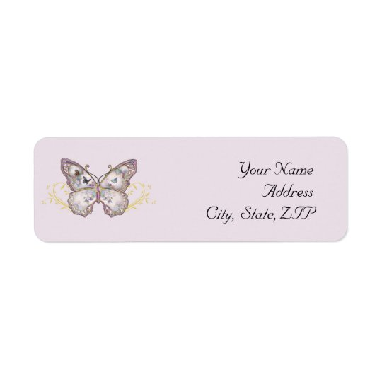 Glitter Butterfly on Lavender Return Address Label