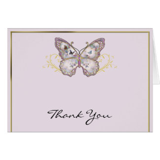 Glitter Butterfly on Lavender Thank You Card
