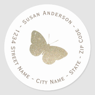Glitter Butterfly Return Address Label