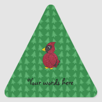 Glitter cardinal with green christmas trees patter triangle sticker