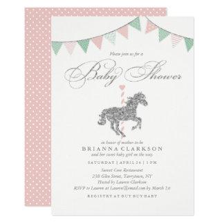 Glitter Carousel Horse   Baby Shower Invitation