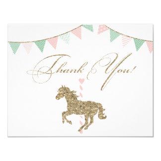 Glitter Carousel Horse   Thank You Card
