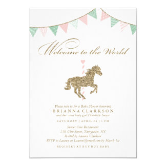 Glitter Carousel Horse   Welcome To The World Baby Card