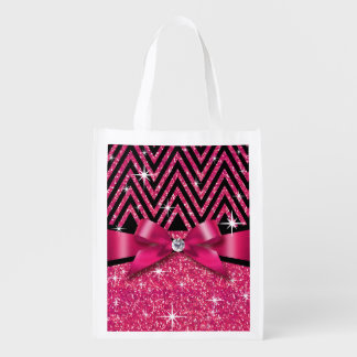 Glitter Chevron Bling Diamond Bow | fuchsia Reusable Grocery Bag