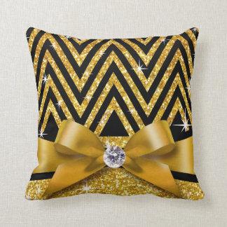 Glitter Chevron Bling Diamond Bow | gold Throw Pillow